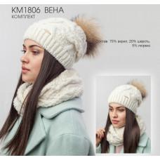 Комплект женский (Шапка+шарф) Nais КМ1806 Вена